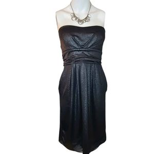 Kismet Strapless Silver Black Mini Cocktail Dress